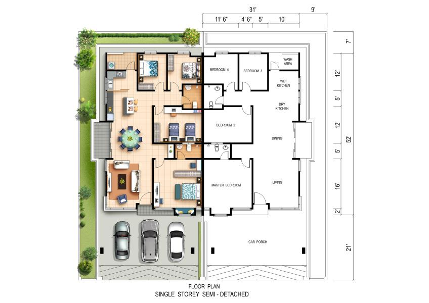 New semi detached house for sale at scarlet 1 storey semi for Single detached house floor plan
